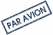 Par Avion Blue Square Stamp