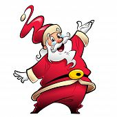 Happy Smiling Santa Claus Cartoon Character Presenting And Wishing Merry Christmas