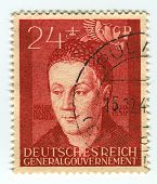 DEUTSCHES REICH  - CIRCA 1942:A stamp printed in Deutsches Reich shows image of the Hans Durer ( Feb