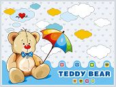 Sitting Teddy Bear toy with blue bow isolated over white background. Clipart vector illustration