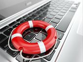 Support. Laptop and life preserver for first help. 3d