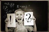 Emotional Screaming Pupil Boy Near Chalkboard