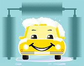 cheerful toy car washing