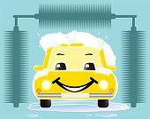 cheerful toy car washing