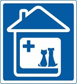 veterinary symbol with pet and home