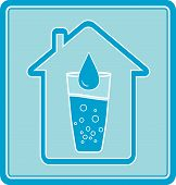 icon with water drop in glass and house