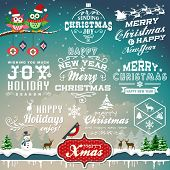 Christmas decoration collection of calligraphic and typographic design with labels, symbols and icon