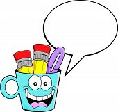 Cartoon cup with a caption balloon