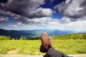 Hiking Shoes. Hiker Enjoying View Relaxing