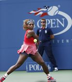 Sixteen times Grand Slam champion Serena Williams during her third round match at US Open 2013