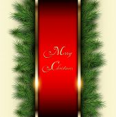 Christmas background with vector christmas tree.