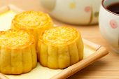 Chinese Mooncake and tea