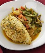 Lemon Chicken With Vegetables ,Close Up
