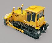 pic of earthwork operations  - Heavy crawler bulldozer on a gray background - JPG