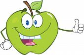 Green Apple Cartoon Mascot Character Holding A Thumb Up