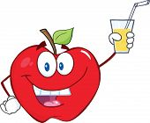Apple Cartoon Character Holding A Glass With Drink