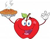 Red Apple Character Holding Up A Pie