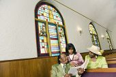 People reading in church