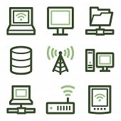 Network icons, green line contour series