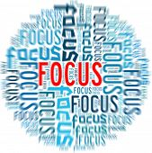 Focus concept in word collage