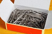 Paper clips in a cardboard box.