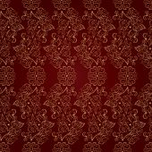Floral Vintage Seamless Pattern On Red Background