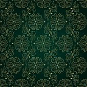 Floral Vintage Seamless Pattern On Green Background