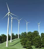 Wind Generators On Top Of A Hill
