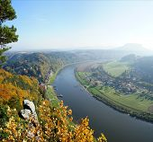picture of upstream  - View on the Elbe and the spa town Rathen in the Saxon Switzerland in Germany - JPG