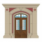 pic of entryway  - vector image of stone entrance of house classic style - JPG