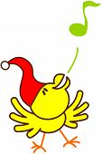 Yellow Christmas bird singing with vivacity