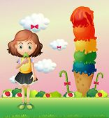 Illustration of a girl eating an icecream beside a giant icecream