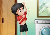 Ilustración de un muchacho joven que cambia su camisa