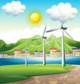Illustration of the three windmills across the village