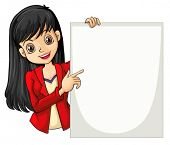 Illustration of a girl with a long hair holding an empty signage on a white background