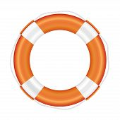 Orange lifebuoy with white stripes and rope.