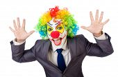 Businessman clown isolated on white