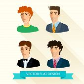 Set of flat design men's portraits.