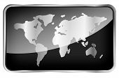 World Map On A Black Tab