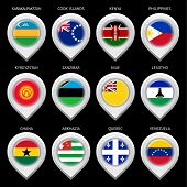 Map marker with flag-set sixteen
