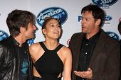 LOS ANGELES - FEB 20:  Keith Urban, Jennifer Lopez, Harry Connick Jr at the American Idol 13 Finalis