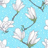 stock photo of magnolia  - Vintage vector pattern with magnolia flowers on soft blue background - JPG
