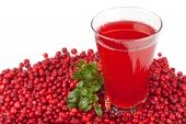 Fresh Cowberry And Berry Juice Glass