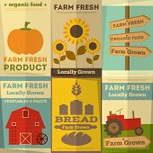 stock photo of barn house  - Organic Farm Food Posters Set - JPG