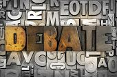 pic of debate  - The word DEBATE written in vintage letterpress type - JPG
