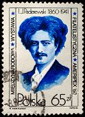 POLAND - CIRCA 1986: Ignacy Jan Paderewski was a Polish pianist, composer, diplomat, politician, and the third Prime Minister of the Republic of Poland, circa 1986.