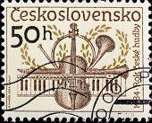 CZECHOSLOVAKIA - CIRCA 1984: A stamp printed in Czechoslovakia, shows Musical instruments , circa 1984