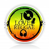 Sticker i love reggae