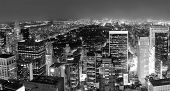 New York City Central Park panorama aerial view black and white at night.