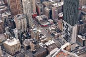 stock photo of pedestrians  - New York City Manhattan street aerial view with skyscrapers - JPG